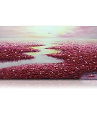 cheap -STYLEDECOR Modern Hand Painted Abstract Red Lotus Pond Oil Painting on Canvas for Wall Art