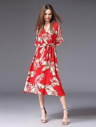 cheap -FRMZ Women's Cute Basic A Line Dress - Floral Print Lace up