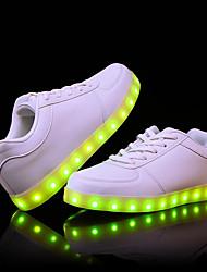 preiswerte -Damen / Unisex Schuhe PU Sommer / Herbst Leuchtende LED-Schuhe Sneakers Flacher Absatz Runde Zehe Weiß / Schwarz