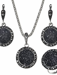 cheap -Women's Jewelry Set 1 Necklace / 1 Ring / Earrings - European Circle Black Jewelry Set For Daily