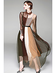 cheap -Women's Slim Sheath Dress - Color Block Patchwork Maxi Shirt Collar