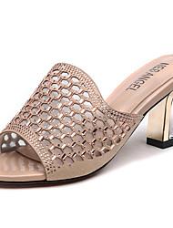 preiswerte -Damen Schuhe Glitzer Sommer / Herbst Gladiator / Pumps Slippers & Flip-Flops Blockabsatz Gold / Schwarz