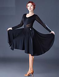 billige -Latin Dans Kjoler Dame Ydeevne Tyl Syntetisk silke Kombination Ruche Langærmet Kjole
