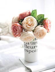 baratos -Flores artificiais 5 Ramo Estilo simples / buquês de Noiva Rosas Flor de Mesa