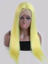 cheap -Remy Human Hair Lace Front Wig Wig Brazilian Hair Straight 130% Density With Baby Hair / Natural Hairline Blonde Women's Short / Long Human Hair Lace Wig