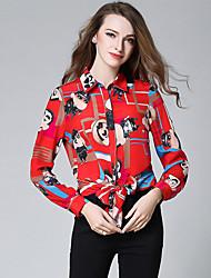 baratos -Mulheres Camisa Social - Feriado Moda de Rua Estampado, Retrato Algodão Colarinho de Camisa