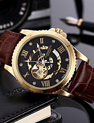 cheap -Men's Mechanical Watch Chronograph PU Band Luxury / Fashion Brown / Stainless Steel / Sony 377