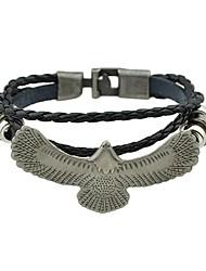 abordables -Femme Empiler Bracelets en cuir - Cuir Aigle Rétro, Basique Bracelet Noir Pour Rendez-vous / Plein Air