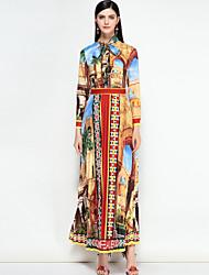 저렴한 -여성용 플러스 사이즈 보호 면 슬림 스윙 드레스 - 컬러 블럭 맥시 스탠드