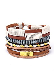 cheap -Men's Leather 4pcs Wrap Bracelet - Casual European Irregular Yellow Bracelet For Gift Daily