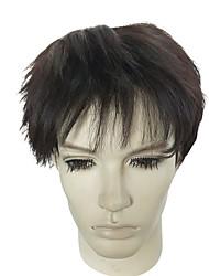 abordables -Pelucas sintéticas Rizado Corte a capas / Corte asimétrico Pelo sintético Entradas Naturales Negro Peluca Hombre Corta Sin Tapa