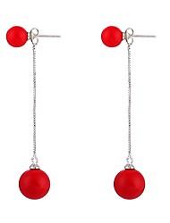 cheap -Women's Cubic Zirconia / Pearl Long Drop Earrings - Pearl, Zircon Simple Red For Street / Bikini