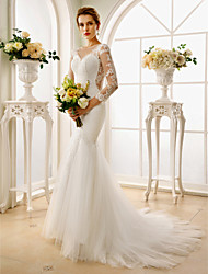 cheap -Mermaid / Trumpet Illusion Neck Court Train Lace / Tulle Custom Wedding Dresses with Appliques / Buttons by LAN TING BRIDE®