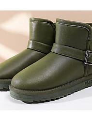 baratos -Mulheres Sapatos Couro Ecológico Outono / Inverno Conforto / Botas de Neve Botas Sem Salto Botas Curtas / Ankle Preto / Cinzento / Verde