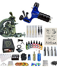 billige -Tattoo Machine Starter Sæt - 1 pcs Tattoo Maskiner med 7 x 15 ml tatoveringsfarver, Variable hastigheder, Professionel, Justerbar LCD strømforsyning No case 1 x roterende tatoveringsmaskine til