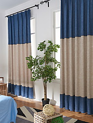 cheap -Curtains Drapes Living Room Color Block / Contemporary Cotton / Polyester Pigment Print
