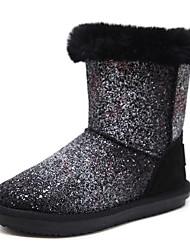 Недорогие -Жен. Обувь Блестки Зима Зимние сапоги Ботинки На низком каблуке Ботинки Черный