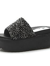 povoljno -Žene Cipele PU Proljeće Ljeto Udobne cipele Papuče i japanke Creepersice Okrugli Toe Šljokice za Kauzalni Crn Pink