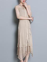 Недорогие -Жен. Большие размеры Уличный стиль Свободный силуэт Русалка Платье - Цветочный принт Средней длины