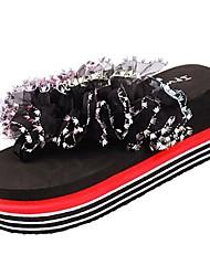 preiswerte -Damen Schuhe Gummi Sommer Komfort Sandalen Creepers Schwarz / Gelb / Fuchsia