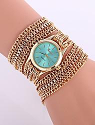 Недорогие -Жен. Модные часы Кварцевый Повседневные часы сплав Группа Аналоговый На каждый день Мода Золотистый - Зеленый Синий Розовый Один год Срок службы батареи