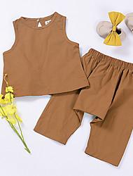 billige -Baby Pige Ensfarvet Uden ærmer Tøjsæt / Sødt