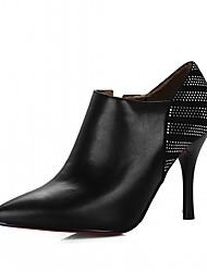 preiswerte -Damen Schuhe Kunstleder Frühling Herbst Neuheit Komfort High Heels Stöckelabsatz Spitze Zehe für Party & Festivität Schwarz Beige Rot
