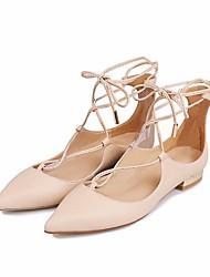 povoljno -Žene Cipele Koža Proljeće Jesen Balerinke Udobne cipele Ravne cipele Ravna potpetica za Kauzalni Obala Crn Badem