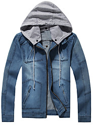 cheap -Men's Cotton Denim Jacket - Solid Colored Color Block, Patchwork Hooded