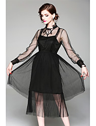 cheap -Women's Cute Sophisticated Sheath Swing Dress - Solid Colored Cut Out Bow Mesh Lace up