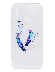 Недорогие -Кейс для Назначение Huawei P20 lite P8 Lite (2017) Прозрачный С узором Кейс на заднюю панель Перья Мягкий ТПУ для Huawei P20 lite Huawei