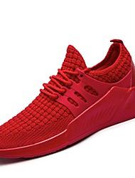 baratos -Homens sapatos Tricô Courino Tule Primavera Outono Conforto Tênis Caminhada Corrida para Atlético Casual Preto Cinzento Vermelho