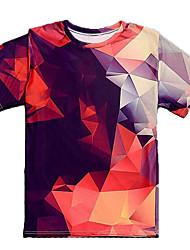 Недорогие -Муж. Футболка Классический Контрастных цветов