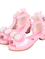 cheap -Girls' Shoes PU Spring Summer Flower Girl Shoes Comfort Sandals Bowknot Pearl Buckle for Wedding Dress White Pink
