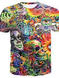 cheap -Men's Skull Basic T-shirt - Geometric Color Block Skull, Print