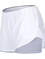 cheap -Women's With Inner Shorts Running Shorts - White, Black Sports Solid Colored Shorts Yoga, Fitness, Gym Activewear Fast Dry Inelastic