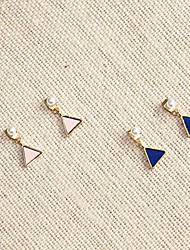 baratos -Mulheres Pérola Brincos Curtos - Pérola, Chapeado Dourado Simples, Básico, Fashion Rosa claro / Azul Real Para Presente / Diário