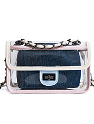 baratos -Mulheres Bolsas PVC Bolsa de Ombro Ziper para Casual Preto / Rosa / Khaki