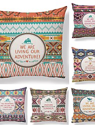 cheap -6 pcs Textile Cotton / Linen Pillow case Pillow Cover, Geometric Pattern Contemporary Quotes & Sayings Boho High Quality