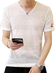 preiswerte -Herrn Solide - Grundlegend Street Schick T-shirt Gitter