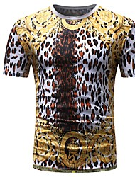 cheap -Men's Basic T-shirt - Leopard Print
