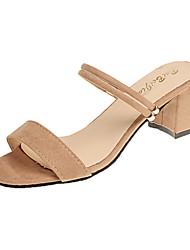 preiswerte -Damen Schuhe PU Frühling Sommer Komfort Sandalen Keilabsatz Offene Spitze für Kleid Schwarz Rosa Mandelfarben