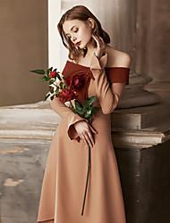 levne -Dámské Vintage Flare rukáv A Line Pouzdro Šaty - Jednobarevné, Volány Midi