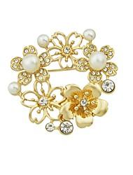 baratos -Mulheres Broches Gema Imitação de Pérola Liga Flor Dourado Básico Fashion Jóias Diário Encontro Jóias de fantasia