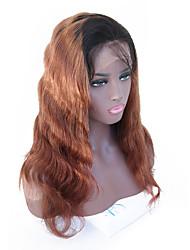 Недорогие -Натуральные волосы Лента спереди Парик Бразильские волосы Волнистый Коричневый Парик 130% Плотность волос с детскими волосами Волосы с окрашиванием омбре Природные волосы Коричневый Жен.