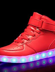 billiga -Pojkar Skor PU Höst vinter Komfort / Lysande skor Sneakers LED för Vit / Svart / Röd / Bröllop