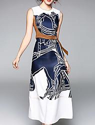 Недорогие -Жен. Тонкие Оболочка Платье - Цветочный принт, С принтом Средней длины