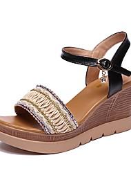 cheap -Women's Shoes Polyurethane Summer Slingback Sandals Wedge Heel Open Toe Rhinestone / Buckle White / Black / Wedge Heels