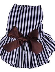 abordables -Chiens Chats Robe Vêtements pour Chien Rayé Nœud papillon Rayure Coton Costume Pour les animaux domestiques Femme Elégant Robes et Jupes