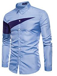 Недорогие -Муж. Рубашка Классический Контрастных цветов / Длинный рукав